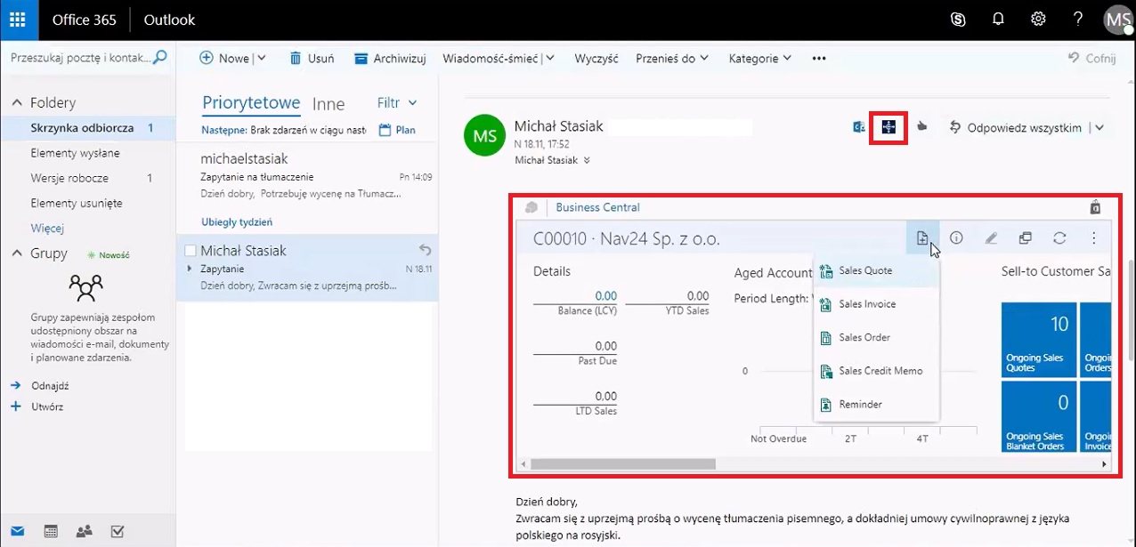 integracja dynamics 365 business central