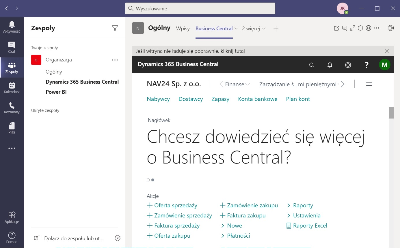 Business Central in Teams